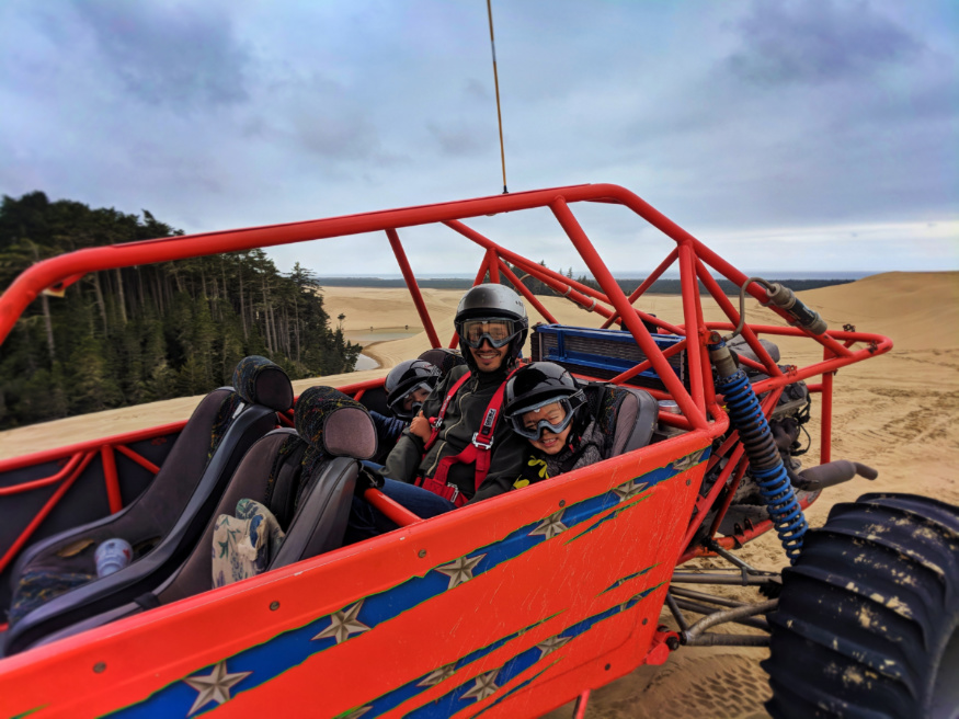 Taylor Family in Dune Buggy at Oregon Dune National Recreation Area Florence Oregon Coast 1
