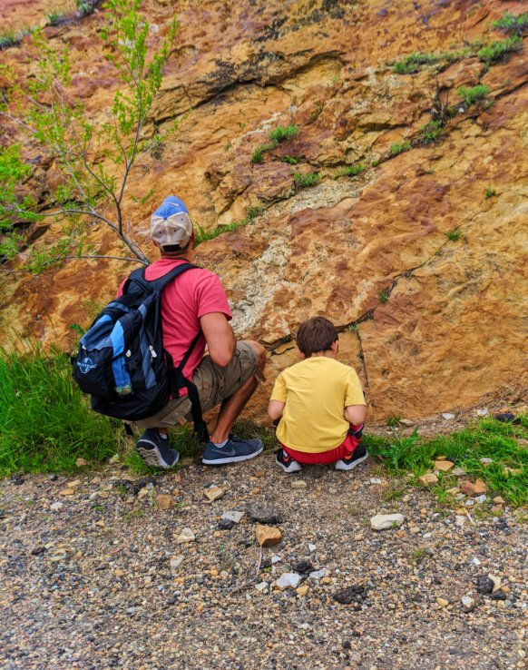 Taylor Family looking for fossils at Dinosaur Ridge Morrison Denver Colorado 1