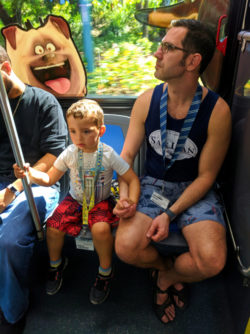 Taylor Family on tram to Universal City Walk Universal Orlando Resort 1
