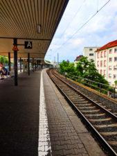 Train Platform S Bahn in Gallus Area Frankfurt Germany 1