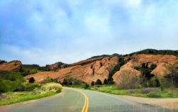 Winding road into Red Rocks Park Denver Colorado 1
