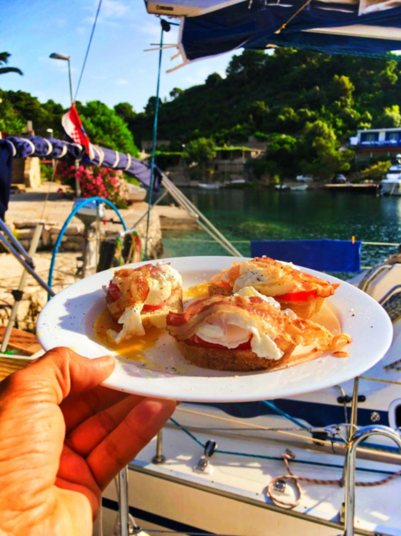 Breakfast aboard Med Sailing Holidays making port in Okuklje on Isle of Miljet Croatia 3