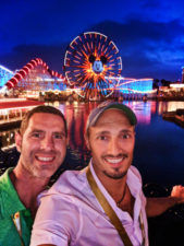 Chris and Rob at Pixar Pier at night Disneys California Adventure 1