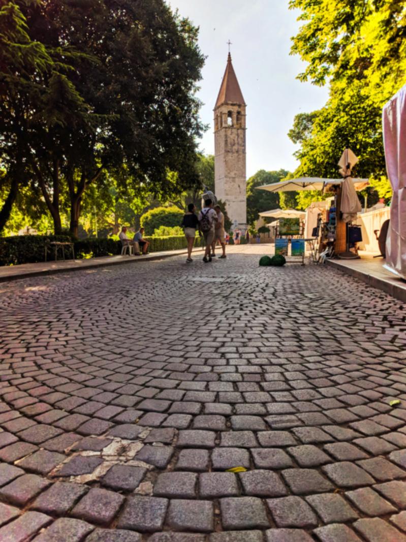 Cobblestone street with Camanile in Old Town Split Croatia 1