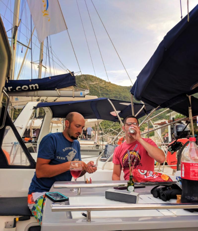 Rob and Chris Taylor on Pride Sailing Holidays in port in Okuklje on Isle of Miljet Croatia 4