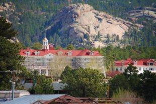 Stanley Hotel with Mountains in Estes Park Colorado 2