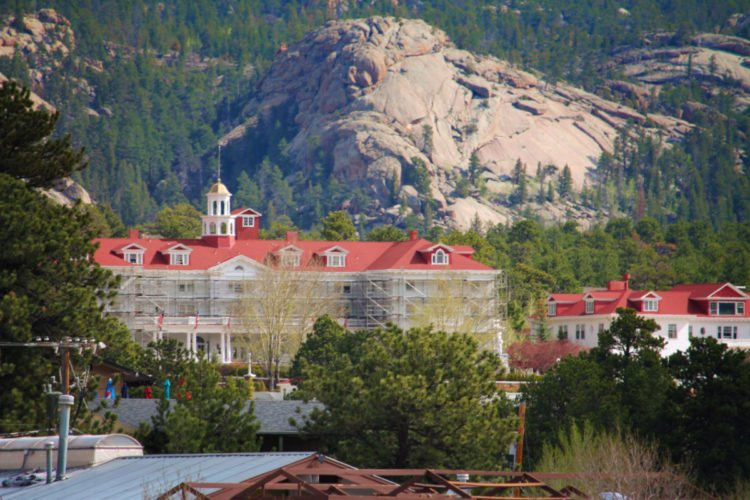 Stanley Hotel with Mountains in Estes Park Colorado 2