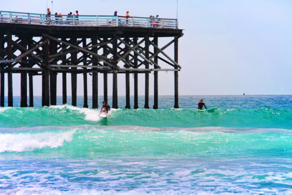 Surfers at Pacific Beach Pier San Diego California 1