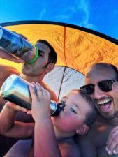 Taylor Family at beach with sun protection tent Suquamish Washington 2