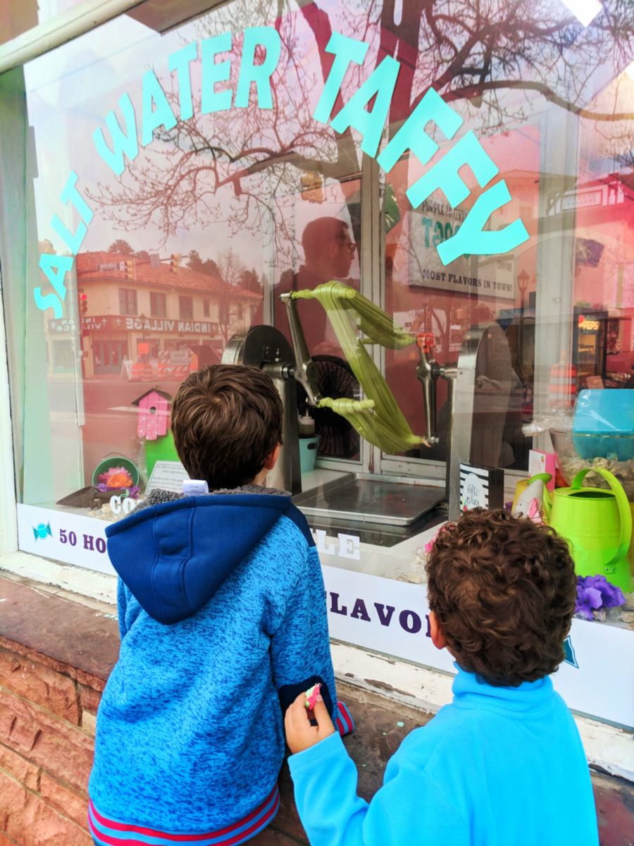 Taylor Family at candy shop in Downtown Estes Park Colorado 3
