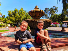 Taylor Family by fountain at Mission San Diego de Alcala San Diego California 2