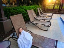 Taylor Family by pool at Holiday Inn Orlando Airport 1