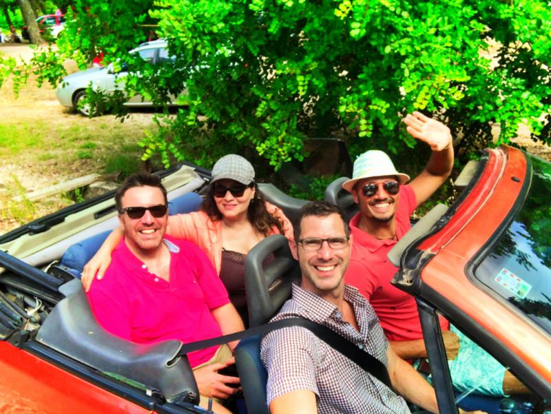 Taylor Family driving convertible through Polace Miljet Croatia 2