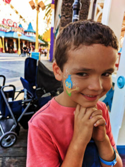 Taylor Family getting facepaint on Pixar Pier Disneys California Adventure 3