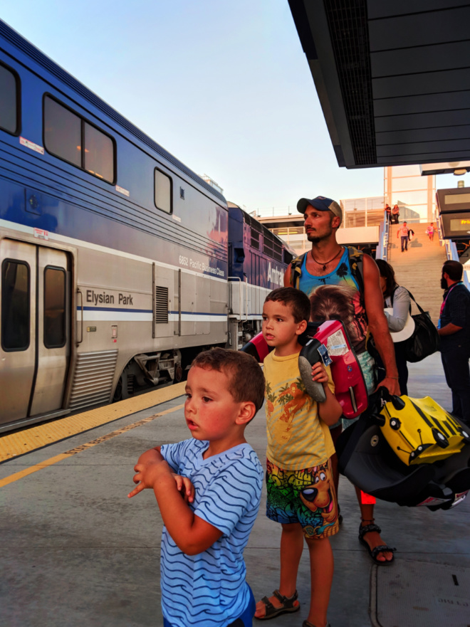 Taylor Family on Amtrak Surfliner Anaheim California station