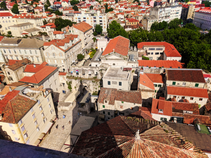 View from bell tower at Cathedral in Old Town Split Croatia 2