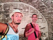 Chris and Rob Taylor in dungeon at Rectors Palace Museum Old Town Dubrovnik Croatia 1