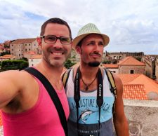 Chris and Rob Taylor walking the City Wall Dubrovnik Croatia 1