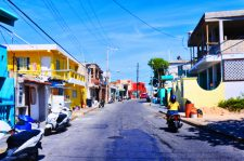 Colorful buildings in town Isla Mujeres Quintana Roo Mexico 1