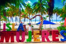 FIAB in water of Isla Mujeres colorful sign Quintana Roo Mexico 3