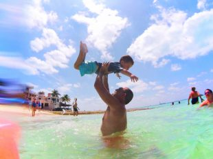 FIAL Frank and Son at Beach on Isla Mujeres Mexico