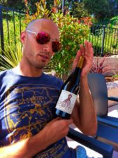 Rob Taylor with Holus Bolus Syrah at Willow Nipomo lunch 1