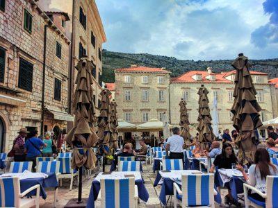 Cafe in Stradun Plaza Old Town Dubrovnik Croatia 1