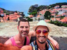 Chris and Rob Taylor walking the City Wall Dubrovnik Croatia 2