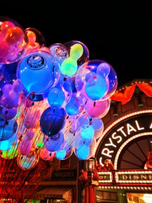 Colorful balloons at Disneyland on Main Street USA at night 1