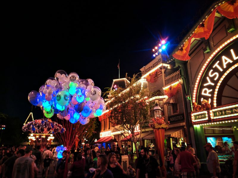 Colorful balloons at Disneyland on Main Street USA at night 2