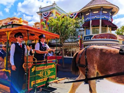 Horse drawn trolley on Mainstreet USA Disneyland 1