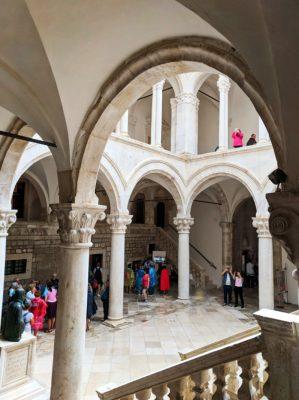 Interior courtyard at Rectors Palace Museum Old Town Dubrovnik Croatia 1