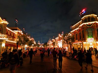Main Street USA Disneyland at night 2