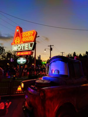 Mater Cozy Cone Cars Land at night Disneys California Adventure 1