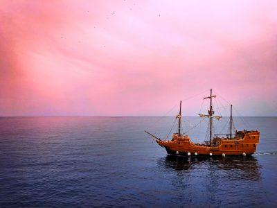 Pirate Ship sailing past Old Town Dubrovnik Croatia 1