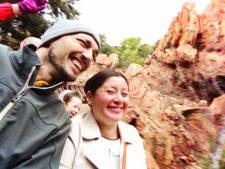 Rob Taylor and Claudia Austin in the rain on Thunder Mountain Disneyland 1