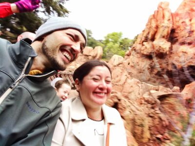 Rob Taylor and Claudia Austin in the rain on Thunder Mountain Disneyland 1