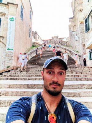 Rob Taylor at Jesuit Steps Shame Steps Old Town Dubrovnik Croatia 1