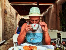 Rob Taylor drinking espresso in Old Town Dubrovnik Croatia 1