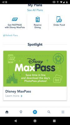Disneyland App MaxPass