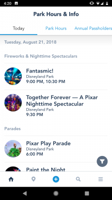 Disneyland App Showtimes