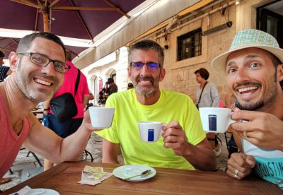 Tom and Chris and Rob Taylor drinking coffee in Old Town Dubrovnik Croatia 1