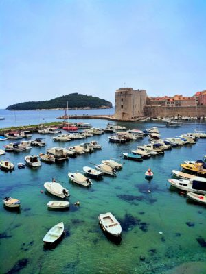 View of Marina and City Wall Old Town Dubrovnik Croatia 2