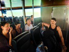 Wet passengers on Isla Holbox passenger ferry Quintana Roo Mexico 1
