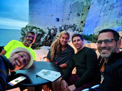 Yoga and Pride Sailing Holidays passengers at Buza Bar Old Town Dubrovnik Croatia 1