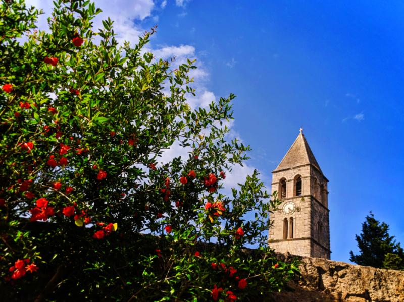 Belltower at St Jeronima on Bay of Vis Croatia 1