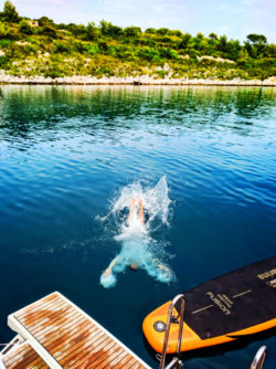 Chris Taylor Jumping into bay Pride Sailing Holidays at Vis Croatia 3