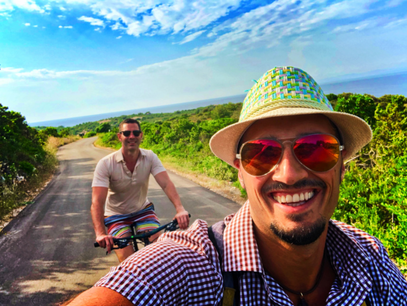 Chris and Rob Taylor riding bikes in Vis Croatia 3