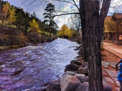 Fall Colors Big Thompson River in Downtown Estes Park Colorado 3