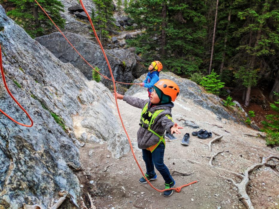 Taylor Family Rock Climbing with Ridgeline Guiding Banff Alberta 10